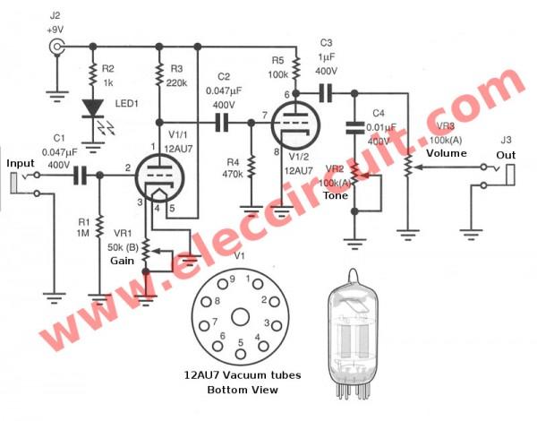 guitar preamp circuit over drive using 12au7. Black Bedroom Furniture Sets. Home Design Ideas
