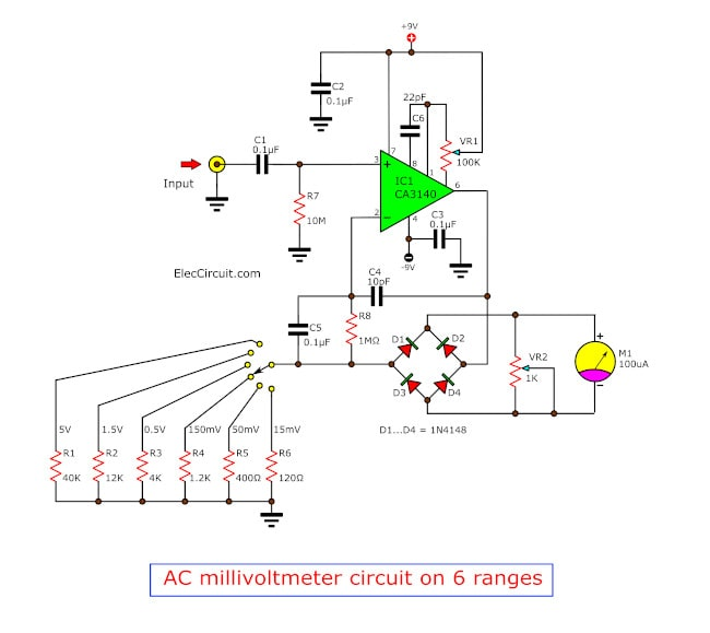 6 ranges AC millivoltmeter circuit