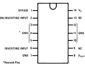 LM380 2.5W Audio Power Amplifier