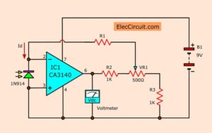 Current to voltage converter using op-amp