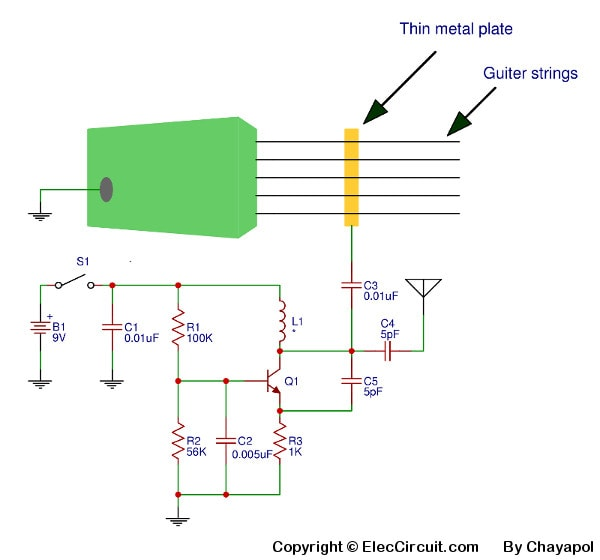 Electric guitar FM transmitter circuit from Acoustic