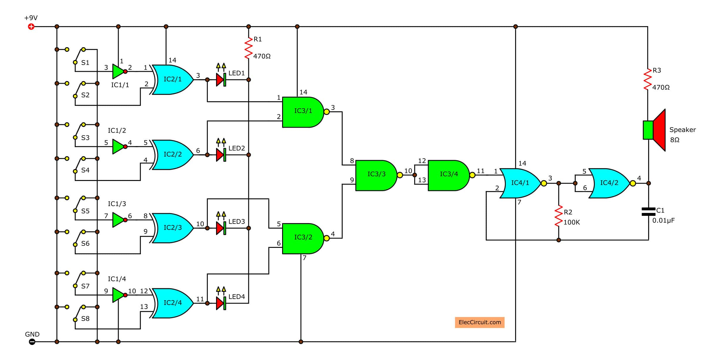 Logic Probe Circuit Diagram Project Basic Electronics Projects And Circuitdiagram Amplifiercircuit Ultrasonictransducerdrivecircuit Logical Guessing Game Eleccircuit Com Rh