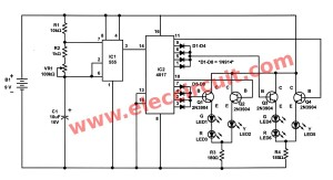 Traffic light controller circuit using CD4027 – NE555
