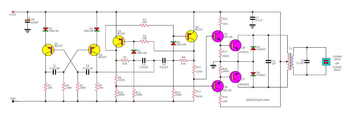 100 watts inverter circuit 12v-to-220v using transistors