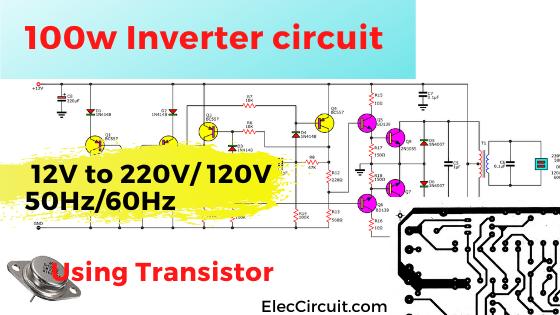 100w Inverter circuit 12V to 220V using Transistor
