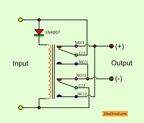 Automatic Reverse Polarity Switch By Relay on circuit wiring diagram
