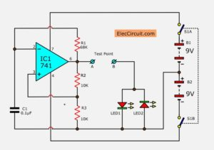 Diode tester circuit using IC-741 and LED