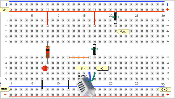 imple alarm and protect the incorrect polarity on a breadboard