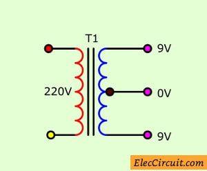 center trap terminal,9V,0V, transformer