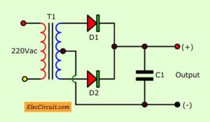 Full wave rectifier using center tap transformer