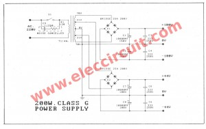 200 watts amplifier power supply circuit