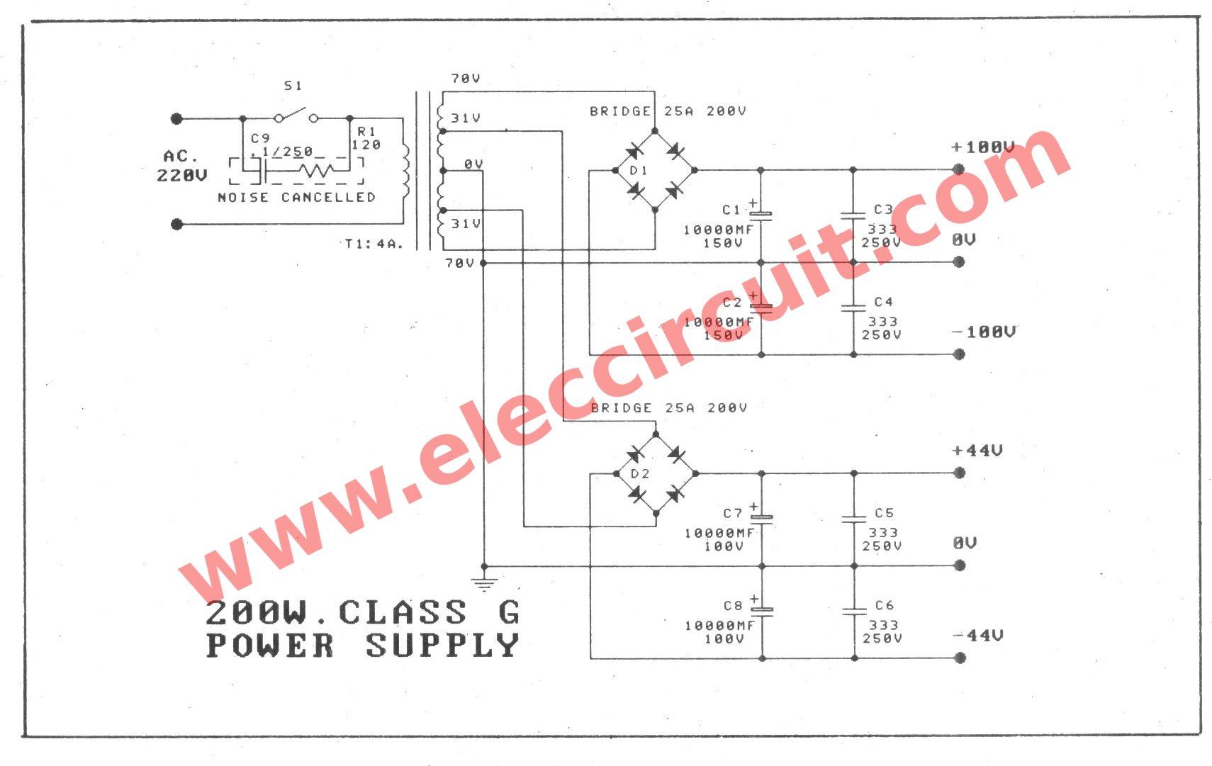 300 Watt Mosfet Power Amplifier Circuit Class G 25 Based The Supply