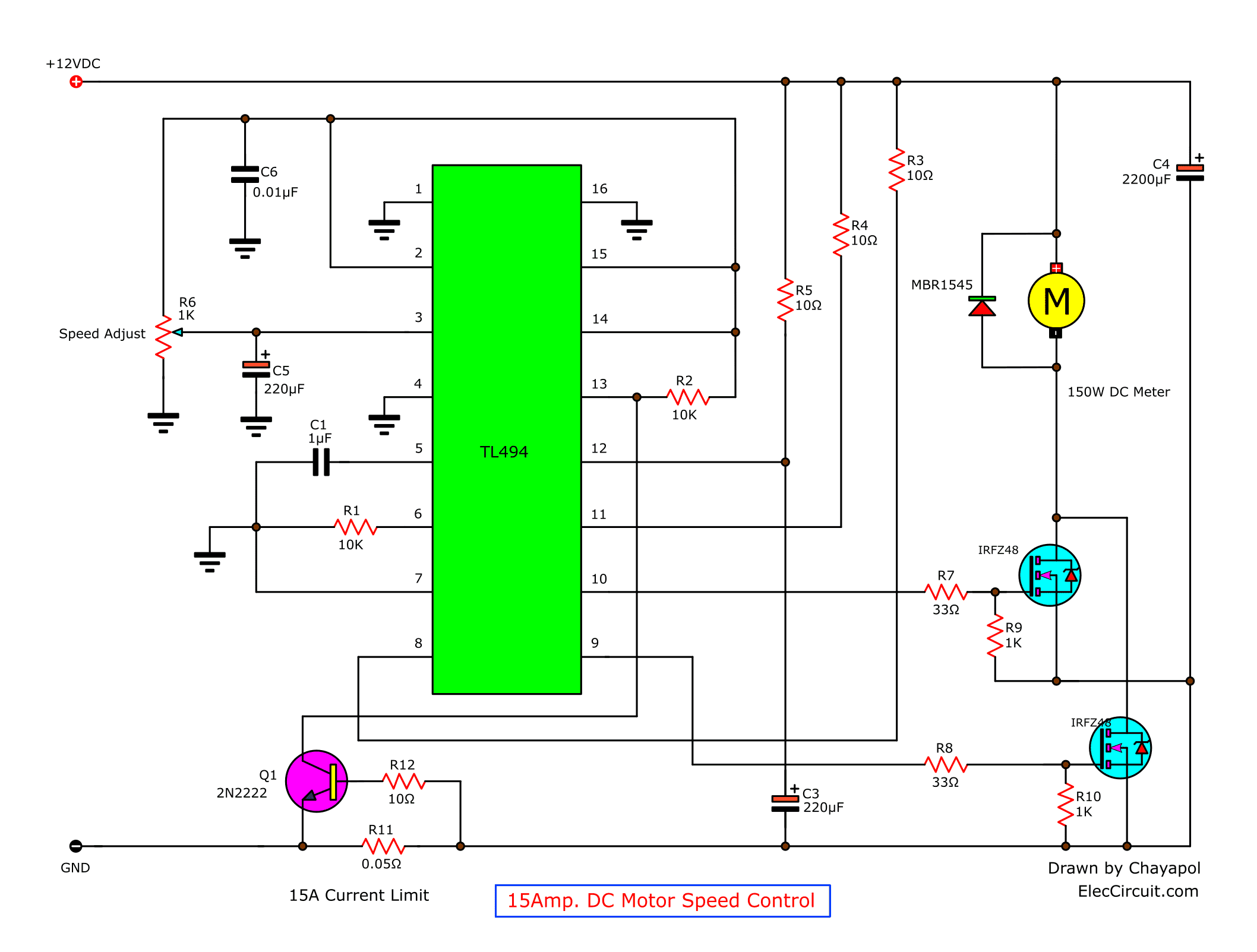 [DIAGRAM_34OR]  12V-24V PWM Motor controller circuit using TL494-IRF1405 | Dc Motor Control Wiring Diagram |  | ElecCircuit.com