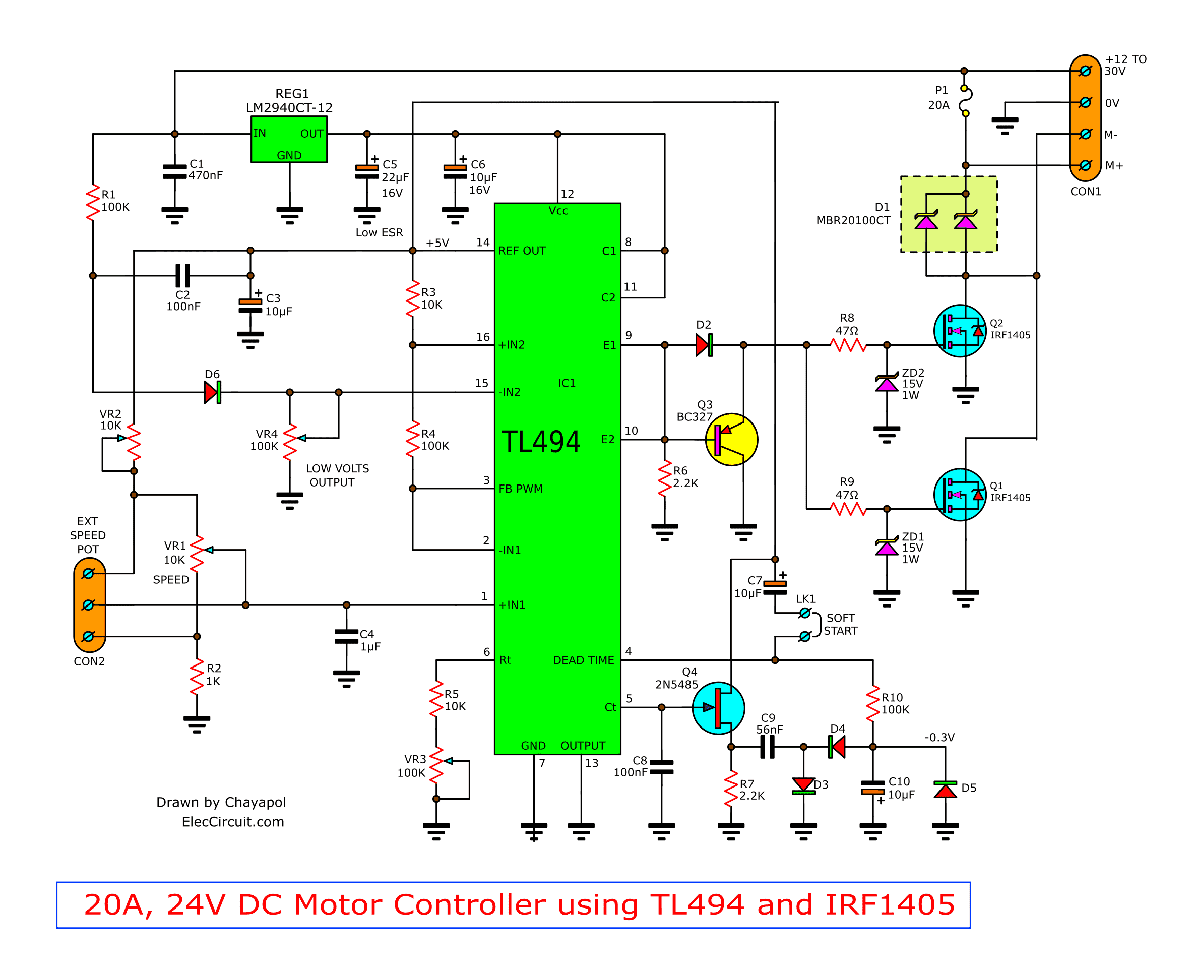 Pwm Schematic Wiring Library Ac Led Circuit Diagram In Addition 12 Volt Voltage Regulator 12v 24v Motor Controller Using Tl494 And Irf1405
