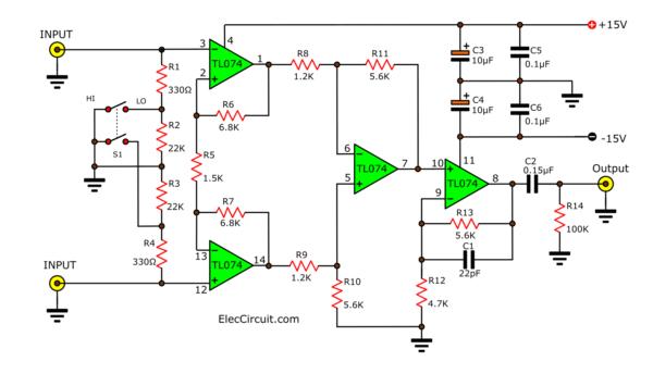 balance  Pre microphone amplifier circuit