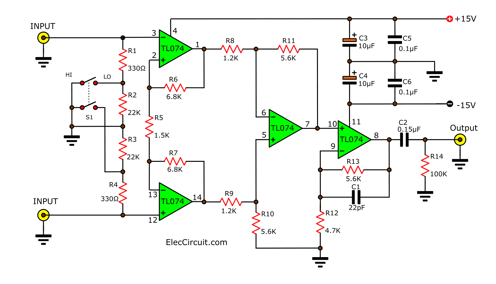 3 Low noise microphone preamplifier circuit using NE5532 LF356