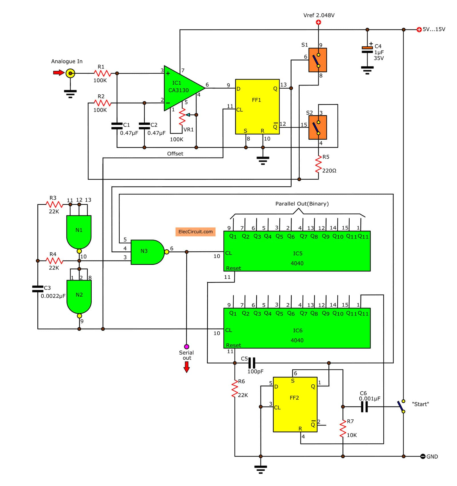 Digital To Analog Audio Converter Schematic Wire Center Bit Binary Circuit Diagram Tradeoficcom Of Using Simple Parts Rh Eleccircuit Com Chip Signal
