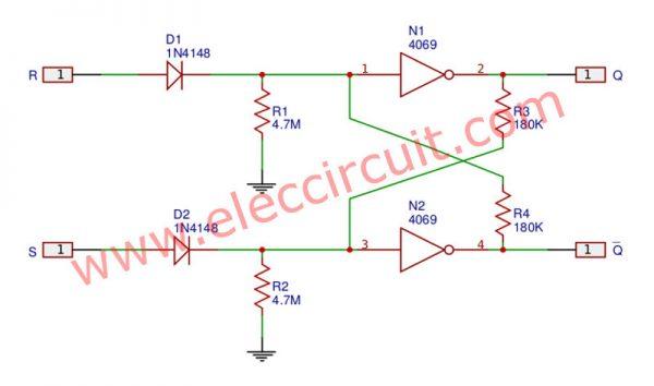 Rising-edge trigger R-S Flip Flop circuit