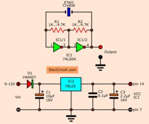 Simple Crystal oscillator Circuit  using 74LS04