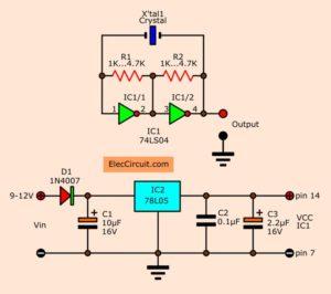 5 Crystal oscillator Circuits  using CMOS