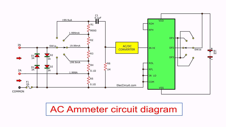 Digital multimeter circuit using ICL7107ElecCircuit.com