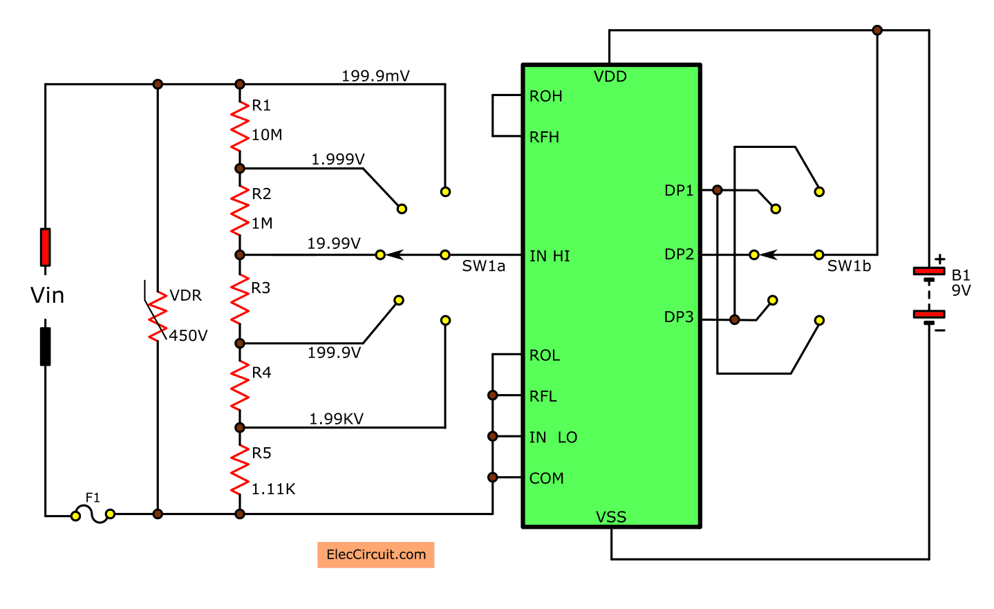 digital multimeter circuit using icl7107 rh eleccircuit com Basic Electrical Wiring Diagrams Wiring- Diagram