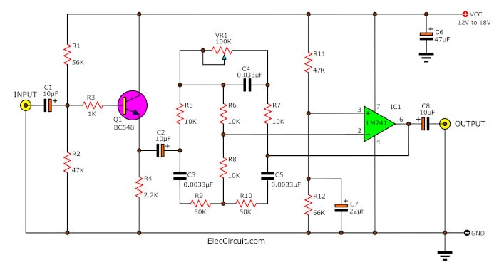 active bass boost circuit using ic 741 eleccircuit com super boost bass by ua741