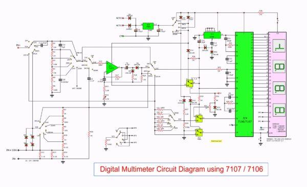 Digital multimeter circuit using ICL7107/7016