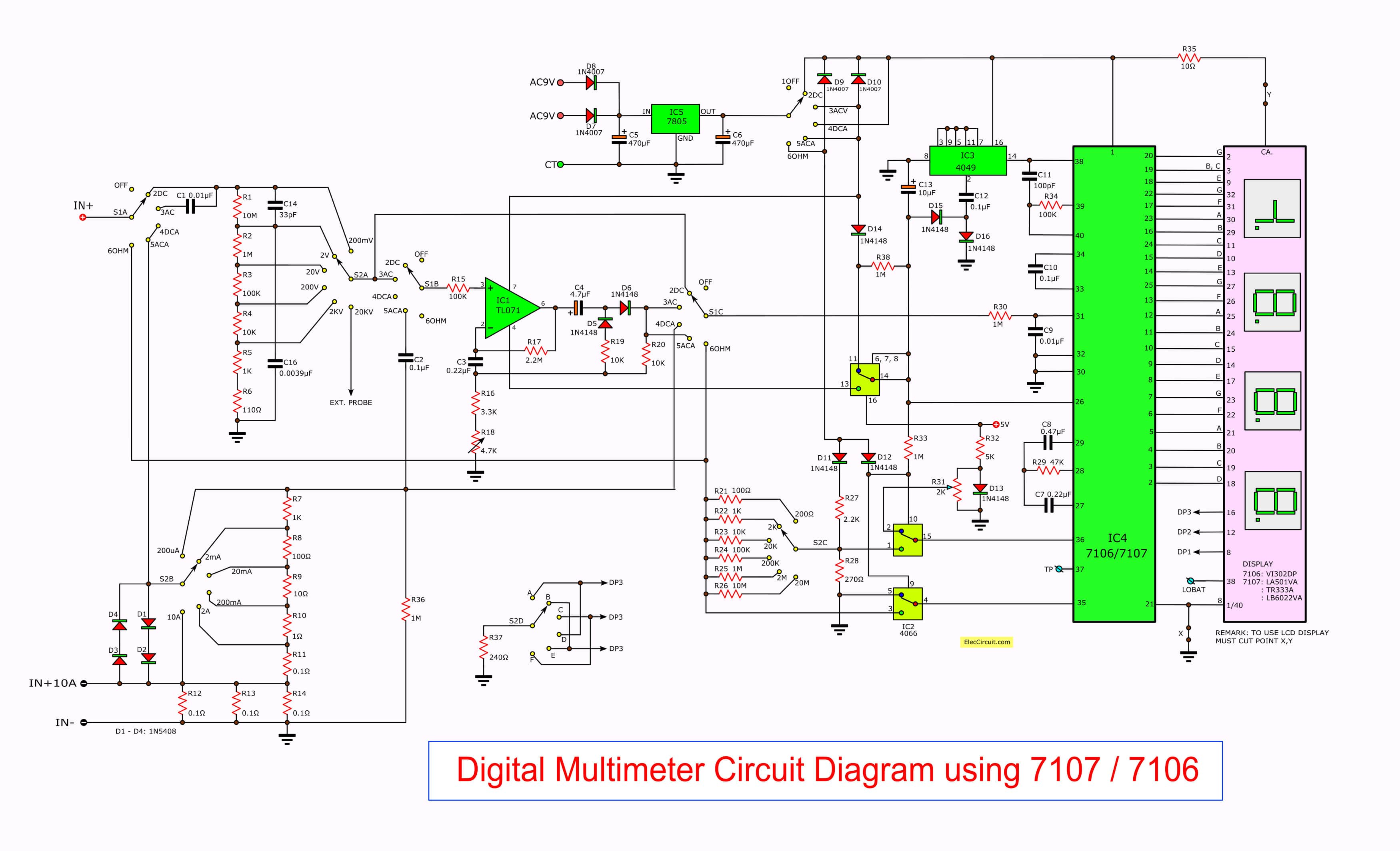 digital multimeter circuit using icl7107 the full circuit diagram of digital multimeter