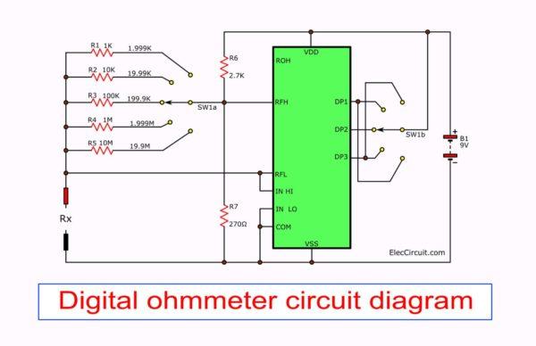 Digital Ohmmeter circuit diagram