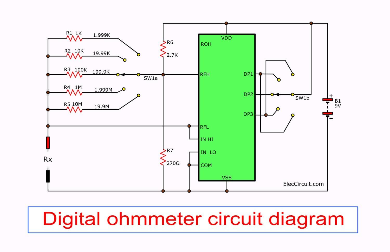 Ohmmeter To Measure Ohms : Digital multimeter circuit using icl