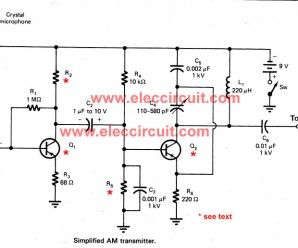 Simple Two Transistors AM Transmitter Circuit