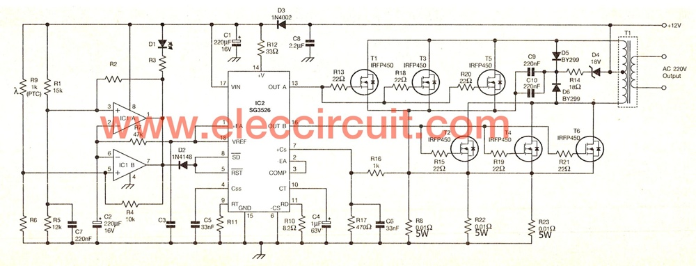 The schematic diagram of this projects 12 volt to 220 volt inverter circuit 500w eleccircuit com inverter circuit diagram at readyjetset.co