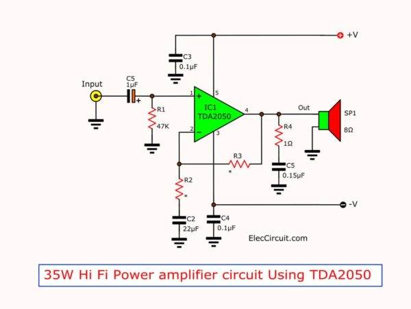 35 watts Hi Fi amplifier using TDA2050