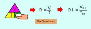 find resistor-R1 with ohms law triangle