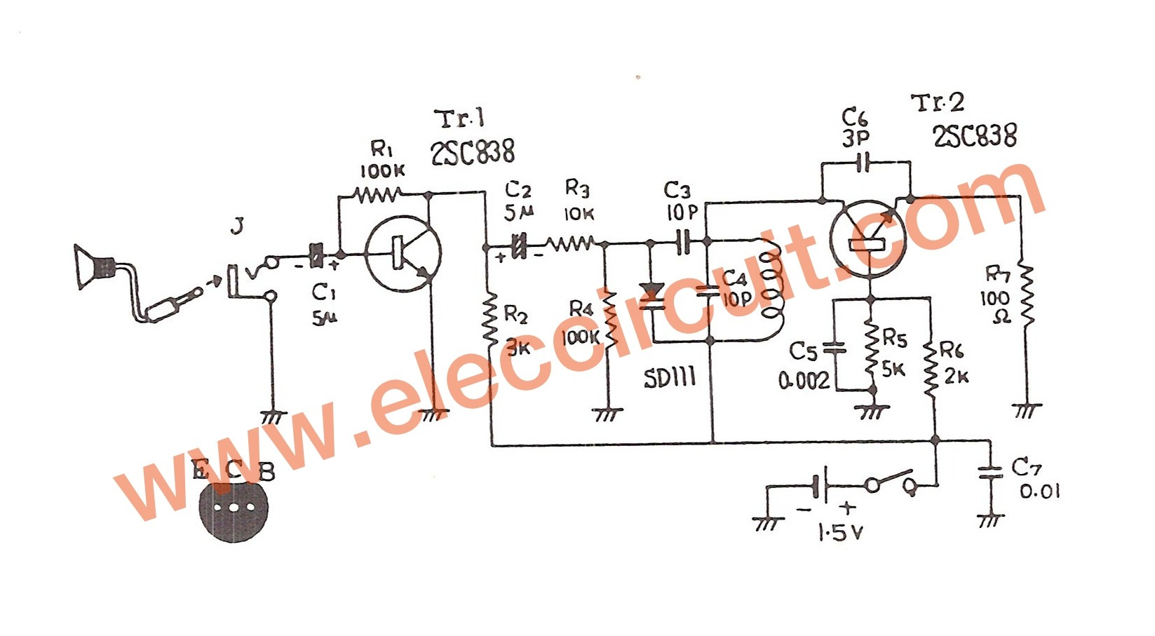 15v Fm Transmitter Circuit 88 108mhz Spy Schematic Diagram