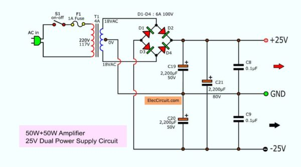 the 25V CT -25V power supply of this projects