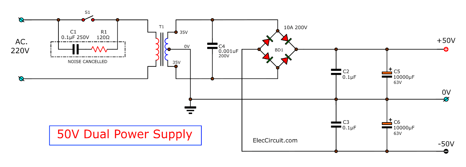 50V Dual Power Supply Circuit