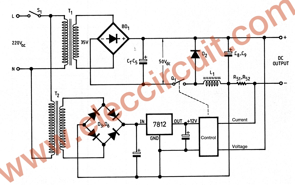0 45v 8a dc switching power supply circuit project the basic of dc switching power supply ccuart Choice Image