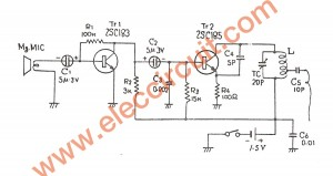 1.5V FM transmitter circuit, 88-108MHz using transistors