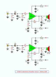 LM3875 Gainclone Amplifier circuit  | Stereo 56W