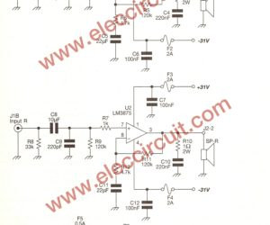 Gainclone amplifier circuit,stereo 40W using LM3875