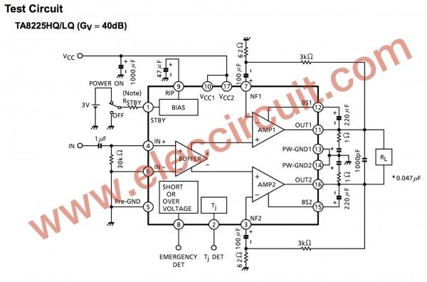 The circuit diagram of TA8225 ICs