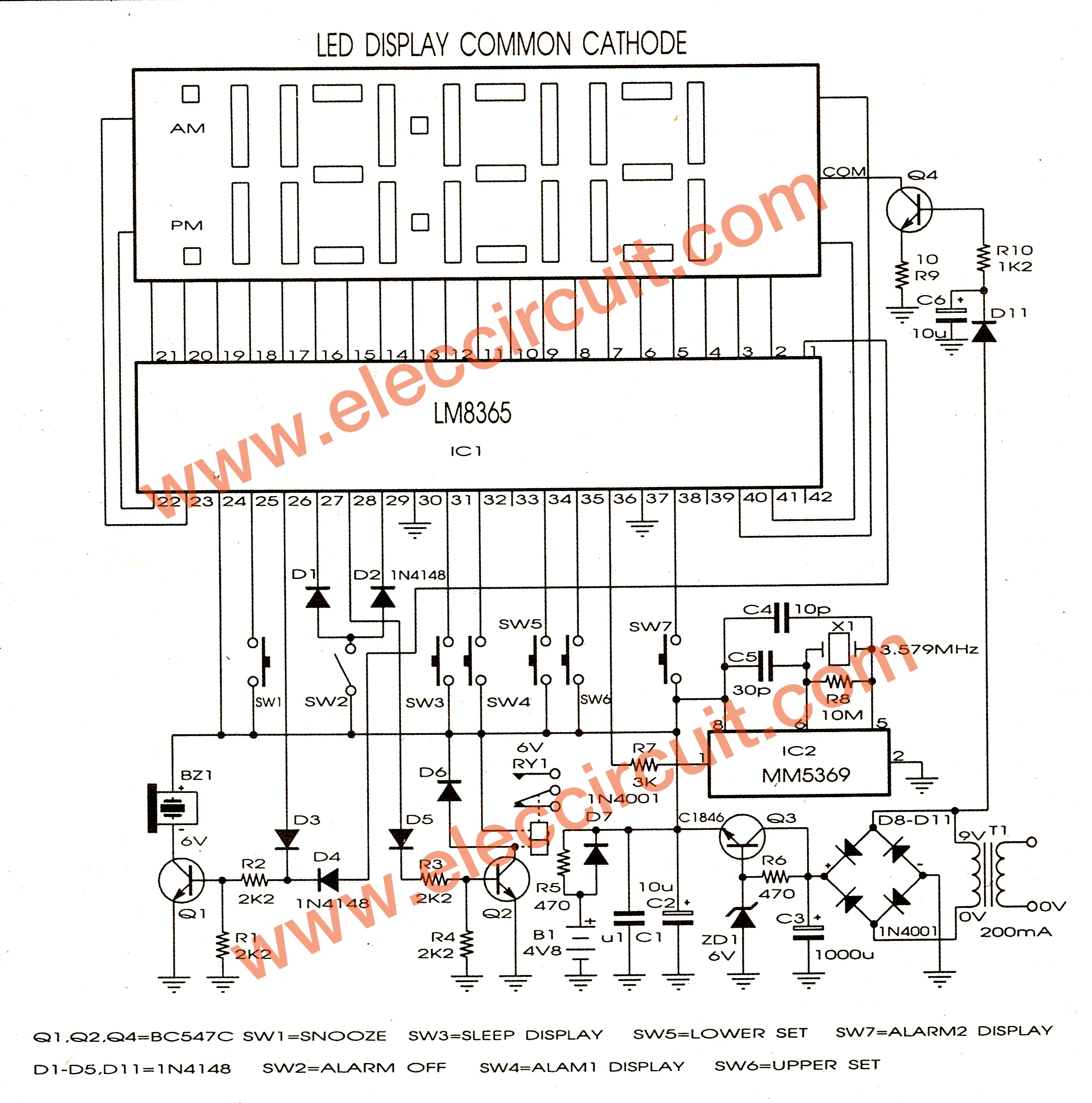 Schematic Diagram Of Circuit Free Wiring For You 150w Power Amplifier Lm8365 Digital Clock Board Eleccircuit Com Electric