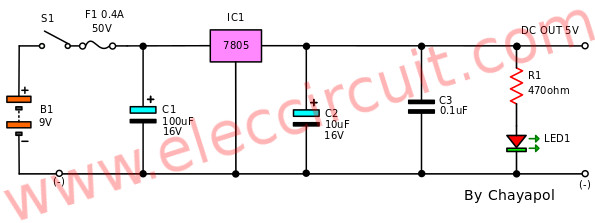 5V,6V,9V,10V,12V,15V,18V,24V-1A Regulators using 78xx series