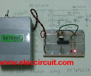 PIC microcontroller 2 led flasher circuit using PIC16F627