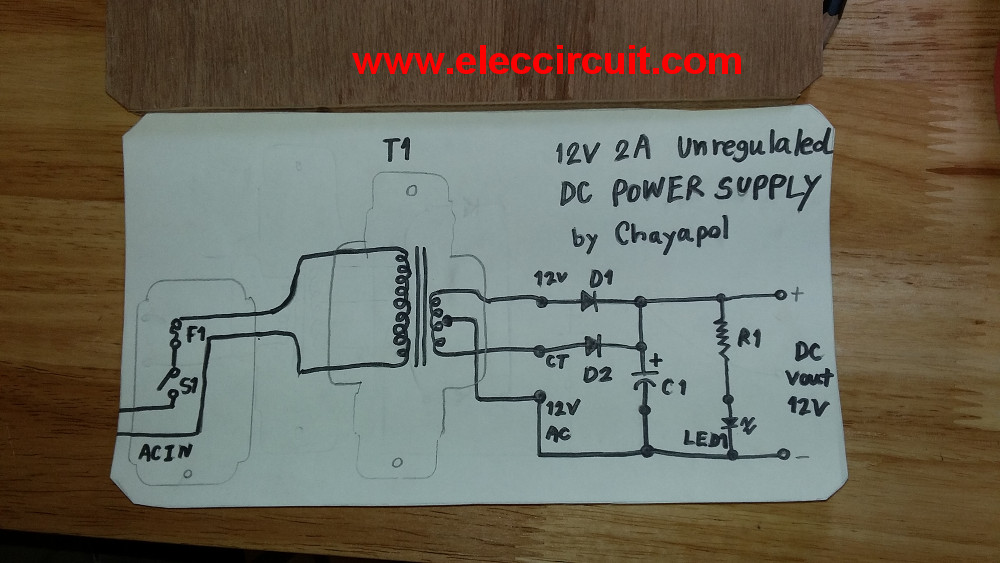 simple 12v 2a power supply circuit eleccircuit com rh eleccircuit com 12v 5a dc power supply circuit diagram 12v 2a dc power supply circuit diagram