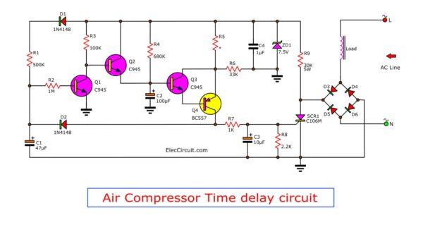 Schematic diagram of air compressor time delay