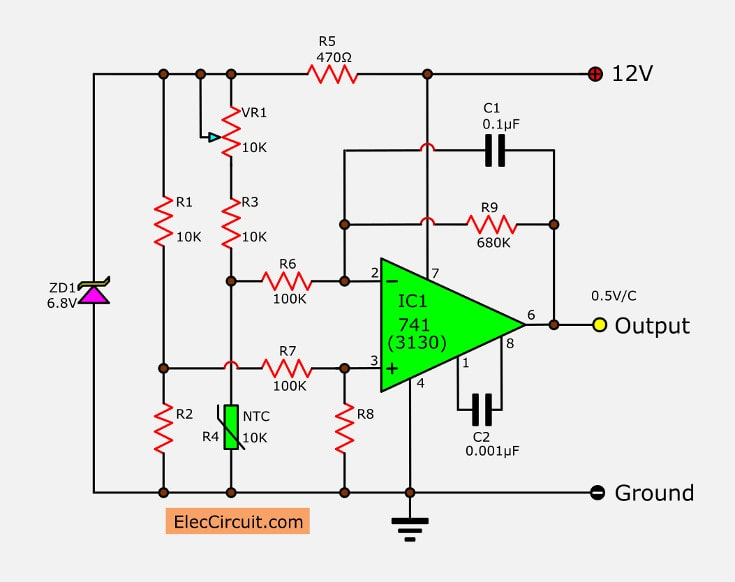 Simple temperature to voltage converter circuit - ElecCircuit