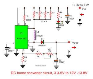 DC Boost converter circuit, 3.7V-5V to 12V-13.8V